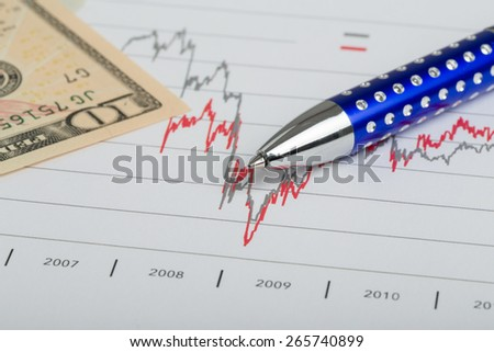 USA dollar money banknotes and pen, money concept, business workplace - stock photo