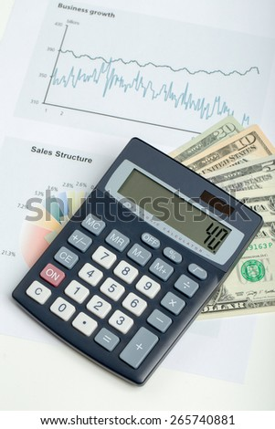 USA dollar money banknotes, pen and calculator, money concept, business workplace - stock photo
