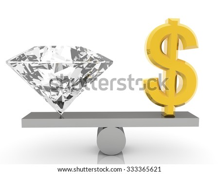 USA Dollar sign  and gem on seesaw on white - stock photo