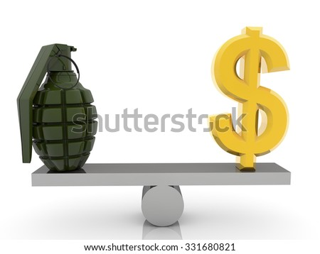 USA Dollar sign and grenade on seesaw - stock photo