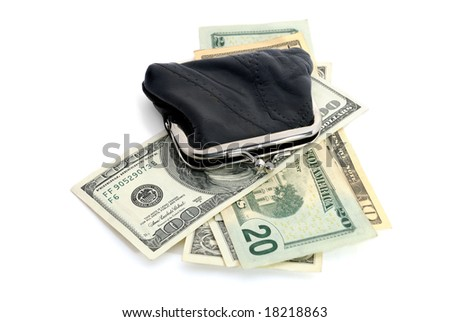 usa dollars and a leather purse isolated on white - stock photo