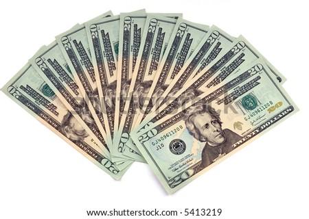 USA dollars bank notes isolated on white - stock photo