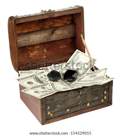 USA dollars in box with car key, isolated on white background