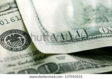 USA dollars. Macro image with selective focus. - stock photo