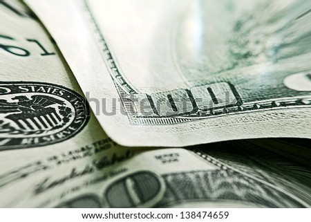 USA dollars. Macro image with selective focus. Pincushion lens u - stock photo
