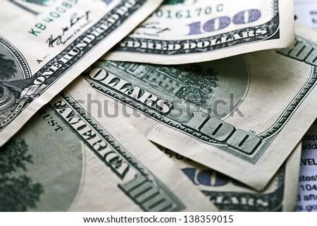 USA dollars. Mfcro image. - stock photo
