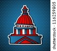 USA elections capitol building facade icon in sketch style over blue stars background. - stock photo