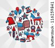 USA elections hand drawn sketch icon set in circle. - stock photo
