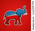 USA elections Republican party elephant emblem in sketch style over red stars background. - stock photo