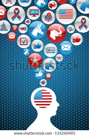 USA elections voting man head with icons splash background.