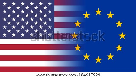 USA - EU Flags joining together concept - stock photo