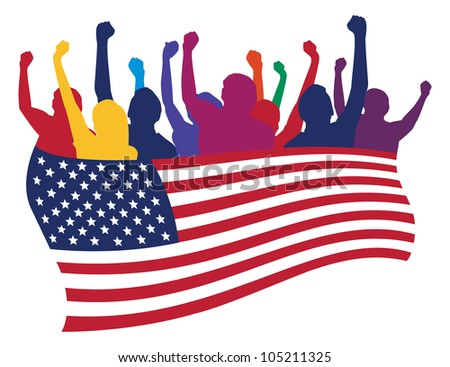 USA fans illustration - stock photo