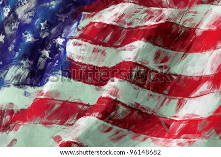 USA Flag abstract painting background - stock photo