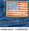 USA flag added on a blue jeans label - stock photo