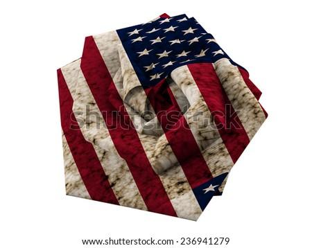 usa flag aged folded - stock photo
