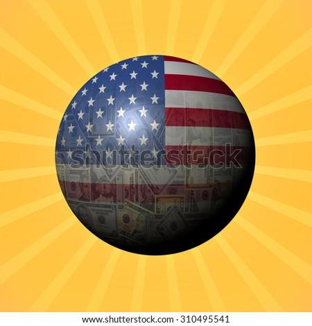 USA flag American sphere on sunburst illustration - stock photo
