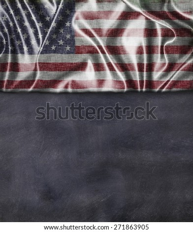 Usa flag and blackboard with blank space for write - stock photo