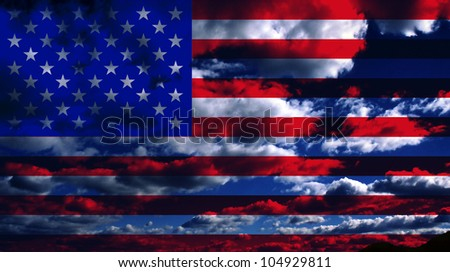 USA Flag and Clouds Design - stock photo