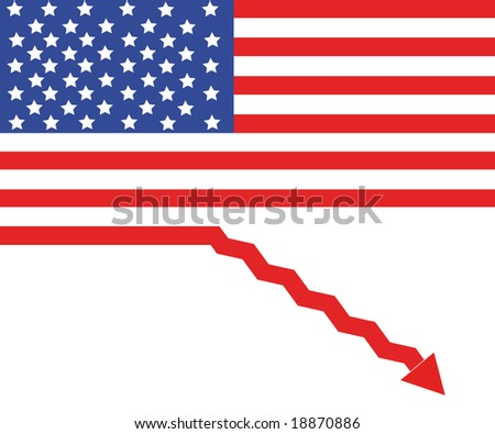 USA flag as a sign of recession - stock photo