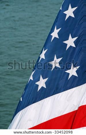 USA Flag at Sea - stock photo