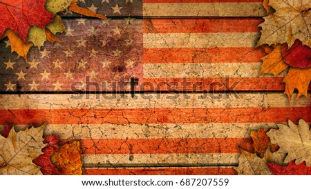 USA flag Autumn background with leaf on a wood