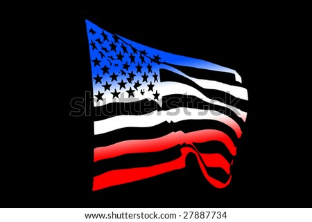 USA flag concept waving in the wind isolated on black - stock photo