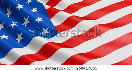USA flag fluttering in wind. - stock photo
