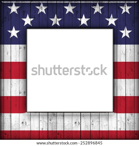 USA flag,frame of wood and white background - stock photo