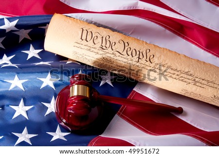 Usa Flag, Gavel  and US Constitution concept. - stock photo