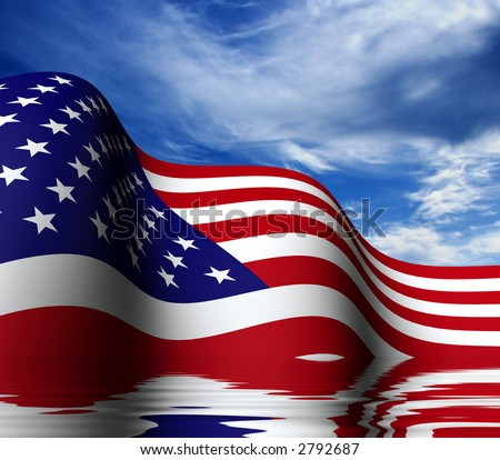 USA flag half in the water. - stock photo