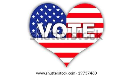 Usa flag. Heart. Vote. - stock photo