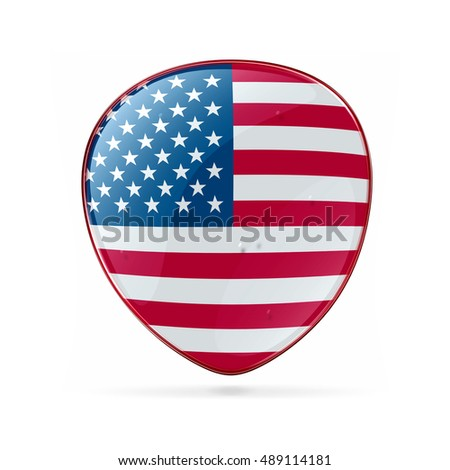 USA flag icon, isolated on white background