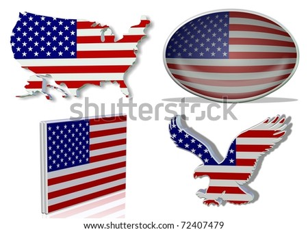 USA flag in 4 different designs, in shape of the country, oval shape, flat on an angle, in a shape of a national symbol / USA flag / 4 different looks of USA flag - stock photo