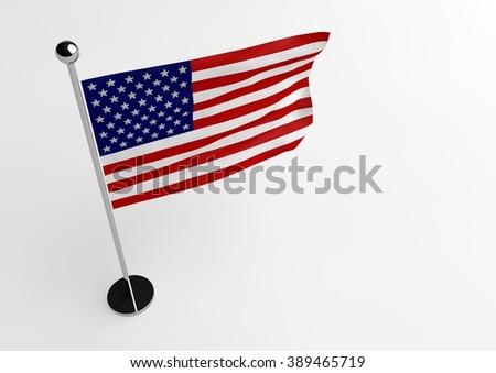 USA flag isolate on white background - stock photo