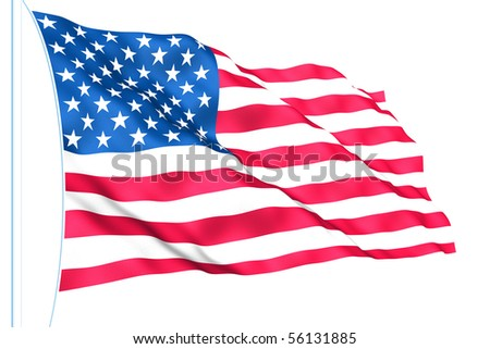 USA flag isolated on white - stock photo