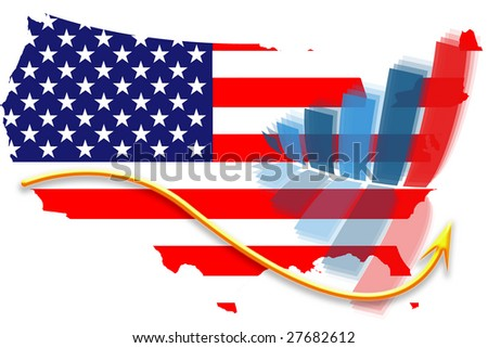 USA flag map and graph chart - stock photo