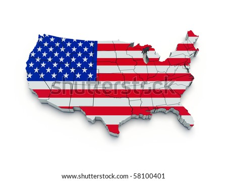 USA flag map. 3D render - stock photo