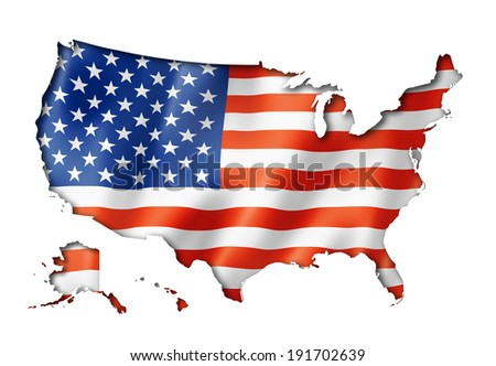 USA flag map, three dimensional render, isolated on white - stock photo