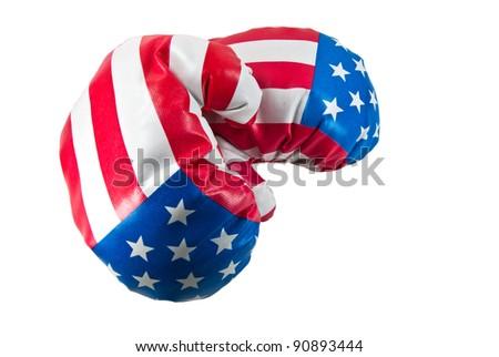 USA flag on boxing gloves - stock photo