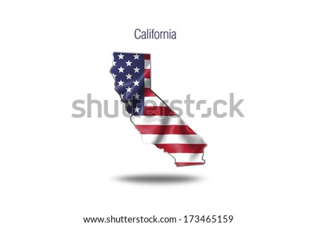 USA flag on california map isolated on white background.