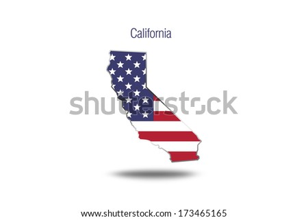 USA flag on California map isolated on white background. - stock photo