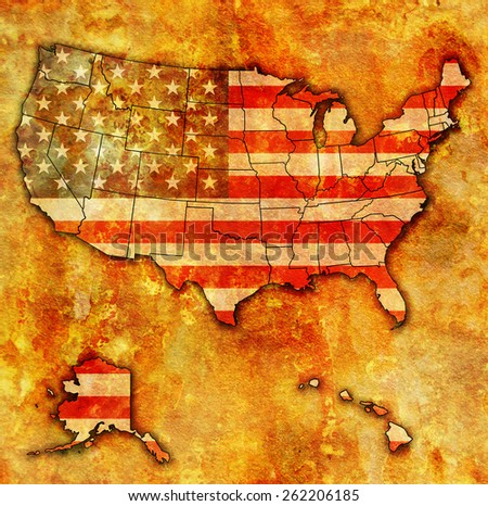usa flag on map of usa with state borders - stock photo