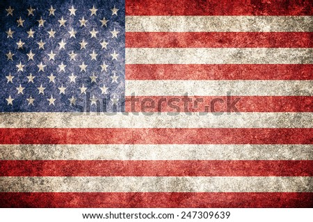 USA flag on the grunge concrete wall. United States of America - stock photo