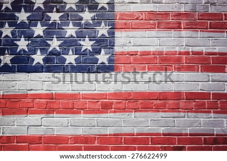 USA flag painted on brick wall. 4th of july background