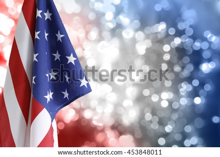 USA flag, red white and blue circles - stock photo