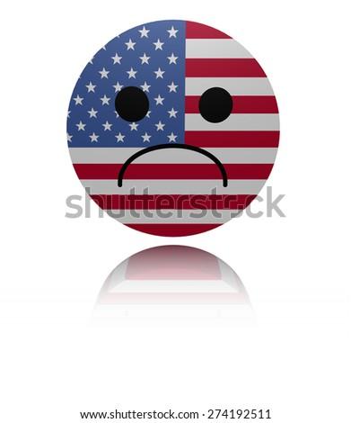 USA flag sad icon with reflection illustration - stock photo