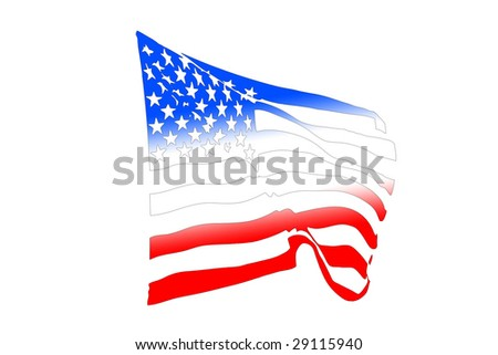 USA flag silhouette waving in the wind isolated on white - stock photo