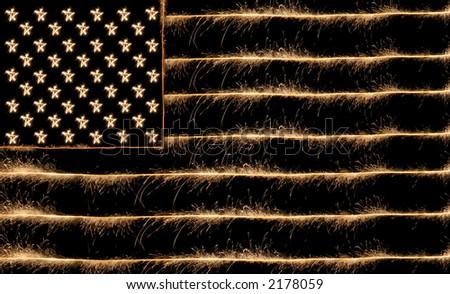 usa flag sparkler 8-o - stock photo