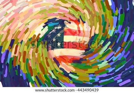 USA Flag Swirl 3D Render - stock photo