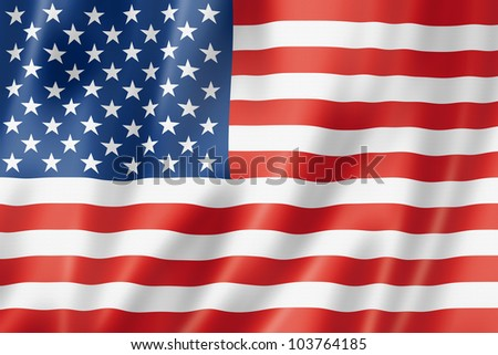 USA flag, three dimensional render, satin texture - stock photo